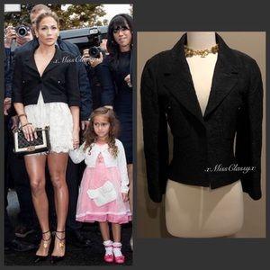 ✨Authentic Elegant Vintage CHANEL CC Logo Button Black Cropped Jacket Blazer